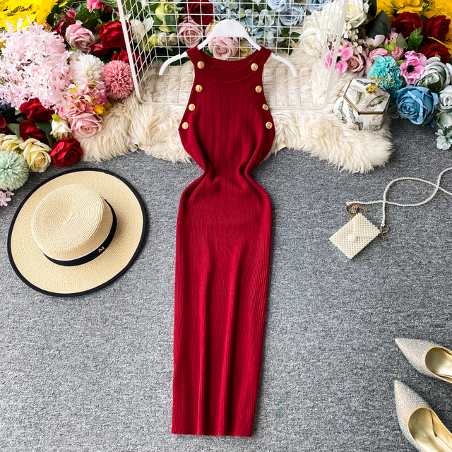 ALPHALMODA 2020 Summer Women Fashion Buttons Knit Dress Sleeveless Pullovers Ladies Slim Solid Knitting Dress 2