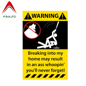 Aliauto Funny Car Sticker Breaking Inti My Home May Result In An Ass Whoopin You Will Never Forget Decal PVC,15cm*10cm image