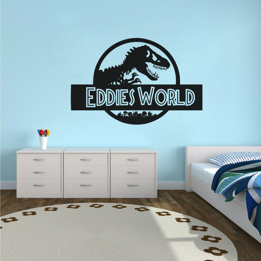 Personalized Name Jurassic World Wall Sticker For Kids Boys Bedroom Dinosaur Style Home Decor Vinyl Art Poster Stickers W588 in Wall Stickers from Home Garden