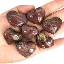 Polished Crystal Healing Stones Wood-Stone Petrified Heart-Shaped Natural Wholesale 1pc