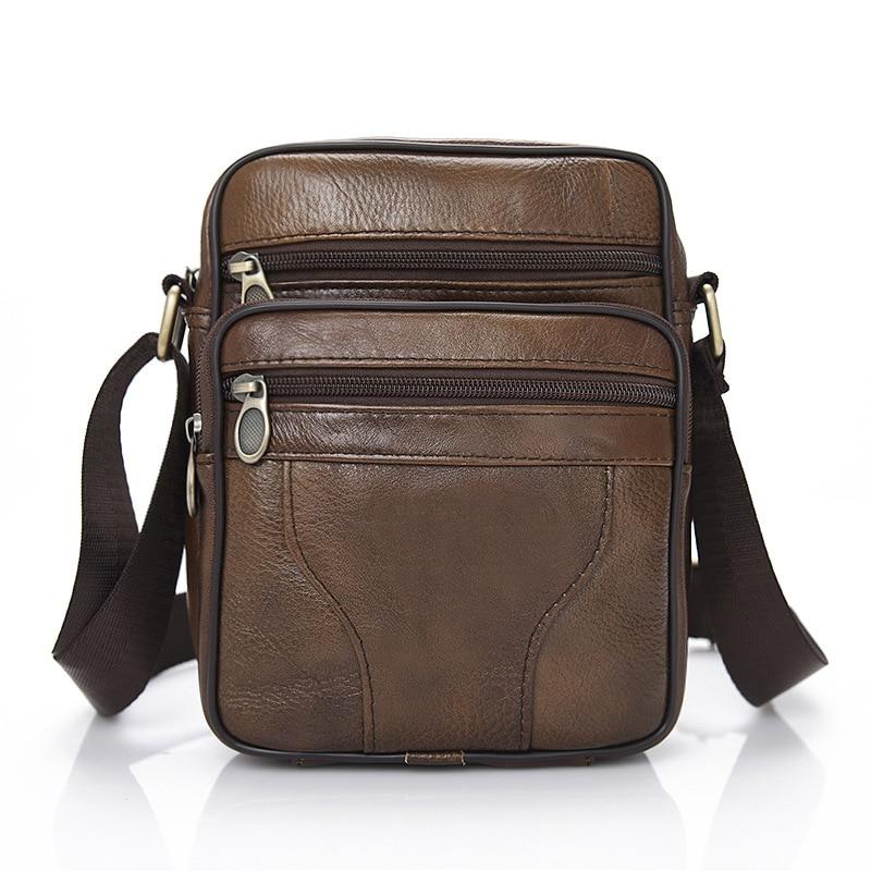 2020 Men's' Small Business Genuine Leather Messenger Bag Cross-body Cowhide  Leisure Single-shoulder Zipper Men's Bag