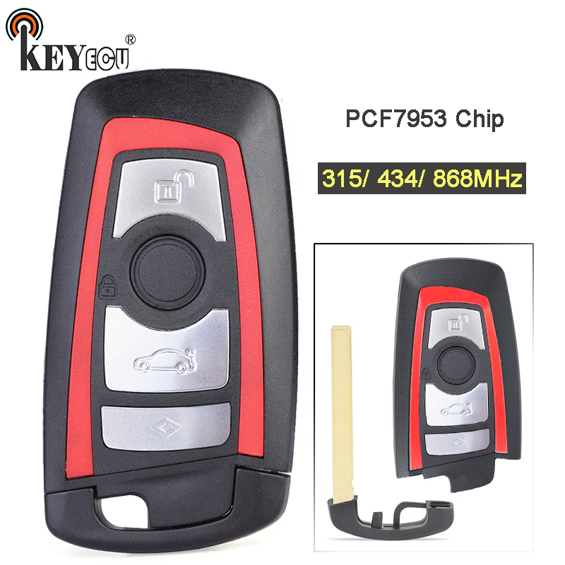 KEYECU 315/434/868MHz PCF7953 Chip CAS4+/FEM Replacement 3+1 4 Button Remote Key Fob for BMW 1 2 3 4 5 6 7 Series X3 M2 Blue|Car Key| |  - title=