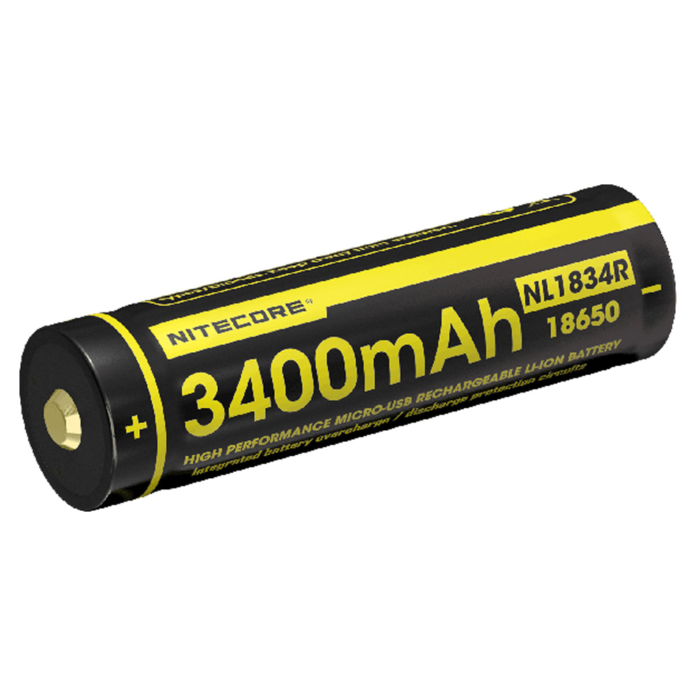 NITECORE NL1834R 3400mAh High Performance Micro-USB Rechargeable Li-ion Battery 12.24Wh 3.6V Button Top 18650 Protected Battery