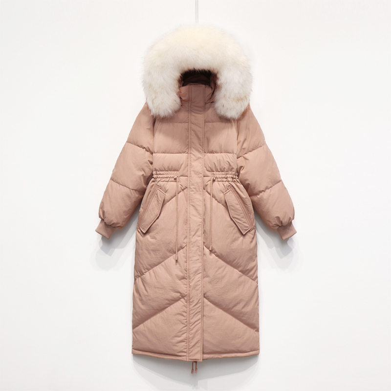 Winter White Duck Down Jacket Women Brand Clothes 2019 Korean X-Long Down Coat Large Fur Hooded Overcoat Hiver LW1638