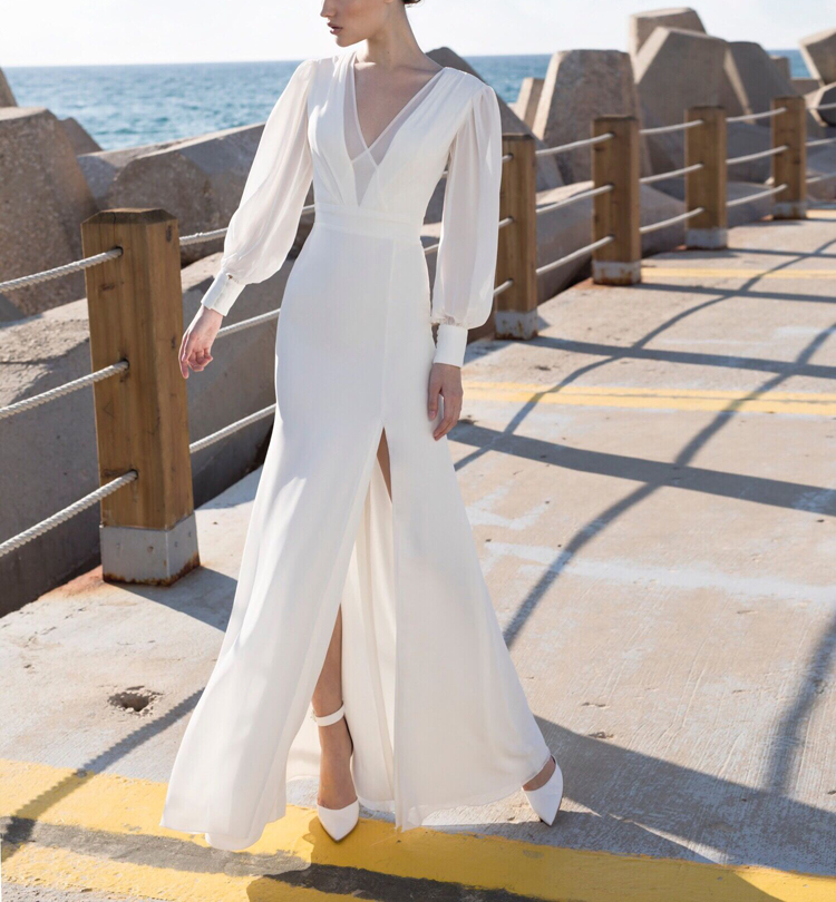 MYYBLE Deep V-Neck Collar Vintage Hepburn Long Wedding Dresses Women Backless White Sexy Lantern Sleeves Female Party Dress
