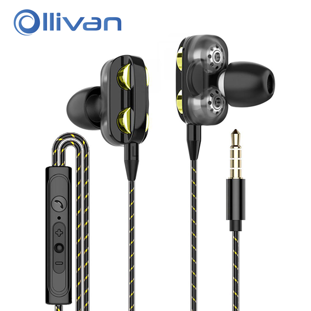 X12 Bass Earphone Headset Earbuds Wired Magnetic Stereo Headphones In-Ear Super Bass Dual Drive Earphones For Huawei Samsung