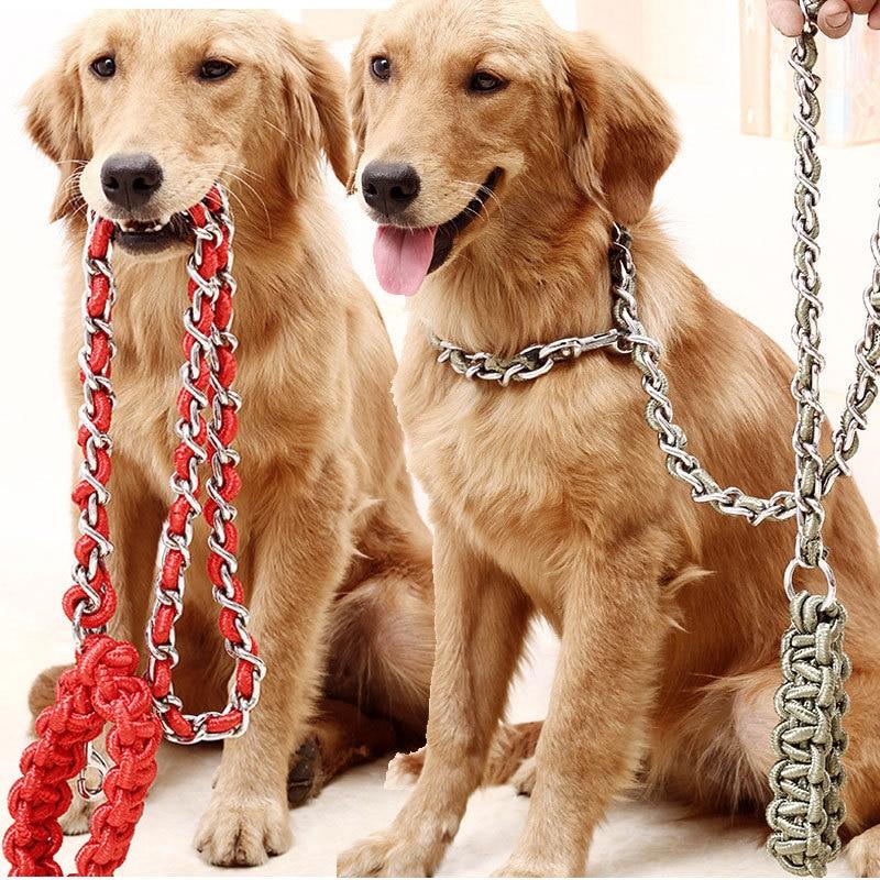 Dog Hand Holding Rope Iron Chain Medium Large Dog Golden Retriever Labrador Anti-Bite Iron Chain Nickel-Plated Anti-Rust Neck Ri