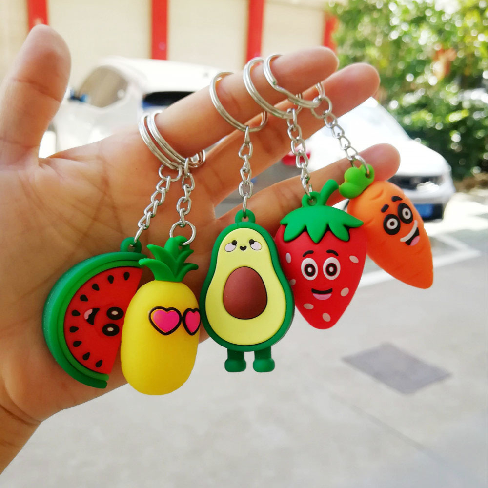 Cute Cartoon Fruits Keychain PVC Carrot Strawberry Pineapple Watermelon Keychains For Women Men Key Chain Car Key Ring Jewelry
