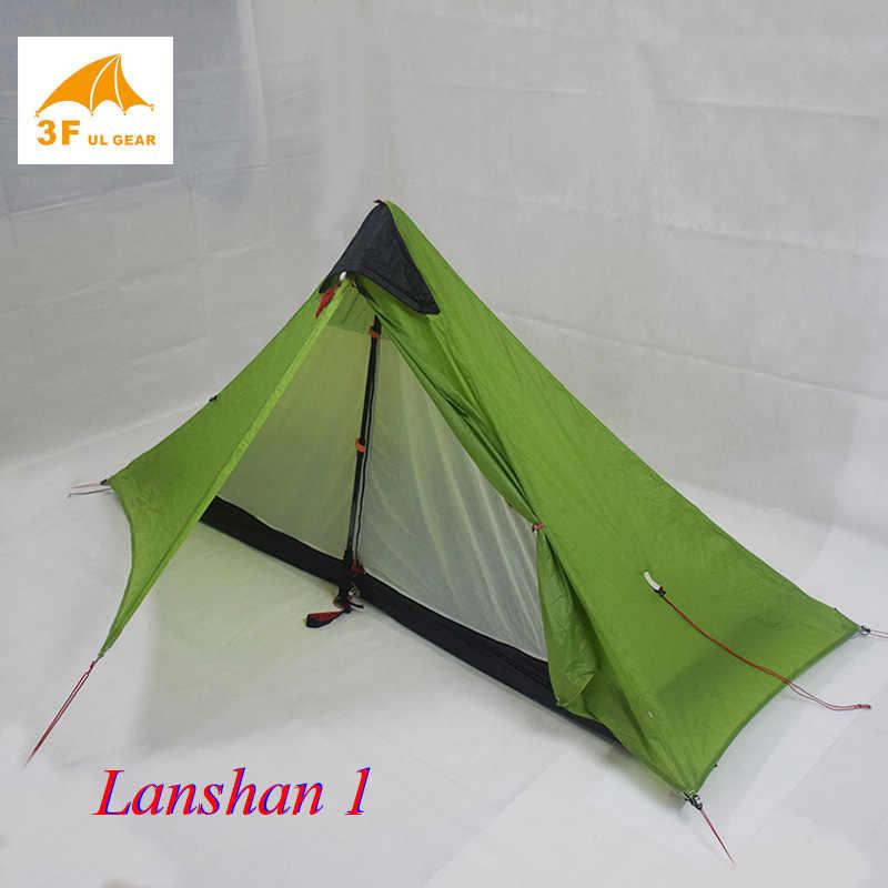 Sadece 950 gram 3F UL Lanshan 1 kişi Ultralight kamp çadırı 3 sezon 4 sezon profesyonel 15D Silnylon Rodless çadır