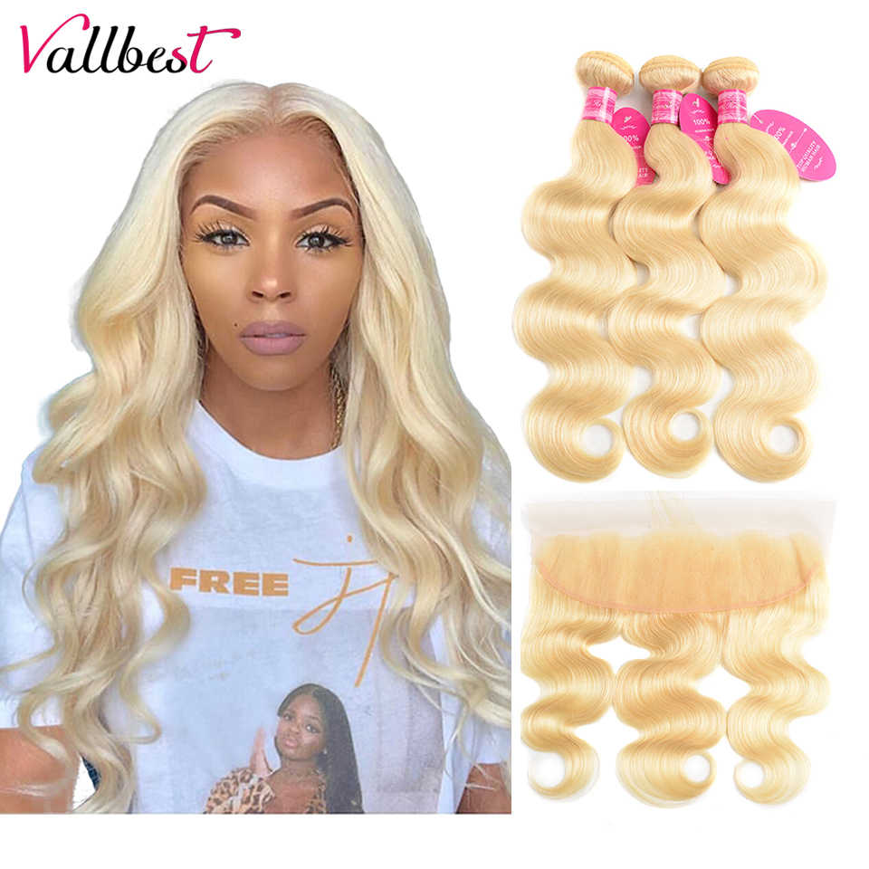 Vallbest 613 Blonde Bundles With Frontal Brazilian Body Wave 3 Bundles With Frontal Closure Remy Human Hair Bundles With Frontal