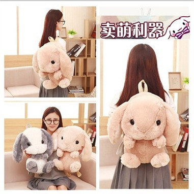 Cute Long Ear Bunny Bag Fluffy Rabbit Fur Pompoms Chain Bag Women Cartoon Rabbit Bag Fluffy Bunny Shoulder Plush backpack