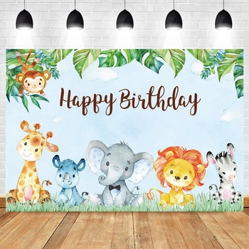 Blue Safari Animal Wild One Forest Jungle Newborn Baby Shower Boy Birthday Backdrop Vinyl Photography Background Photophone Prop allenjoy background photography wildlife jungle animal forest safari party boy kids birthday round backdrop cover photocall
