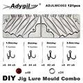 Adygil DIY Angeln 121 stücke Jig Locken Mould Combo 45g 60g 80g 100g 4 Hohlräume-in Angelutensilien aus Sport und Unterhaltung bei