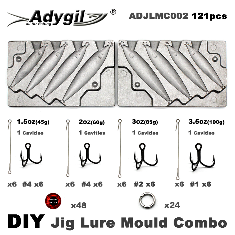 Adygil DIY Fishing 121pcs Jig Lure Mould Combo 45g 60g 80g 100g 4 Cavities