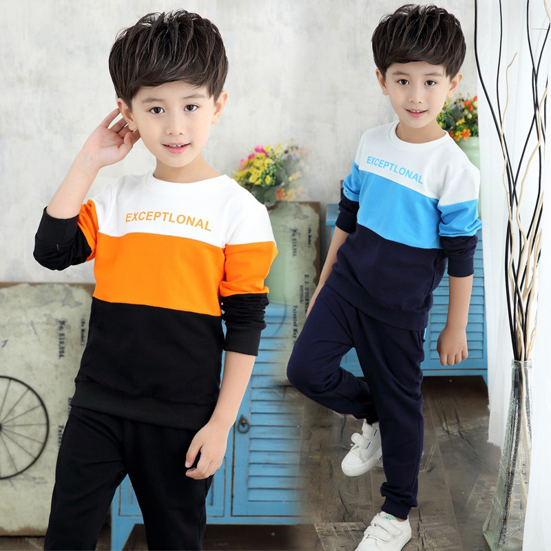 Baby boy clothes suit 2020 new boy letters spell color sweater + casual pants 2PC children's fashion sports suit(China)