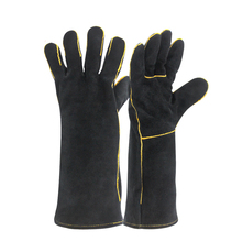 Black Welding Gloves Cow Split Leather Welder Heat Resistant Oven Working Glove For Wood Stove BBQ