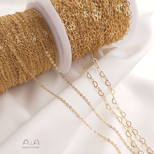 Customized 14K Gold-Plated Color Retention Chain Peach Heart-Shaped Chain DIY Handmade Necklace Bracelet Extension Chain Jewelry