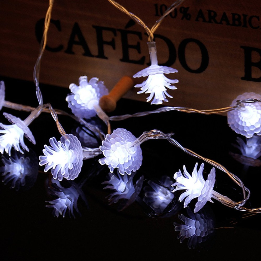 2.2m 20LEDs Fairy String Pine Cone Shape Decorative Lights Battery Operated Wedding Christmas Outdoor Patio Garland Decor