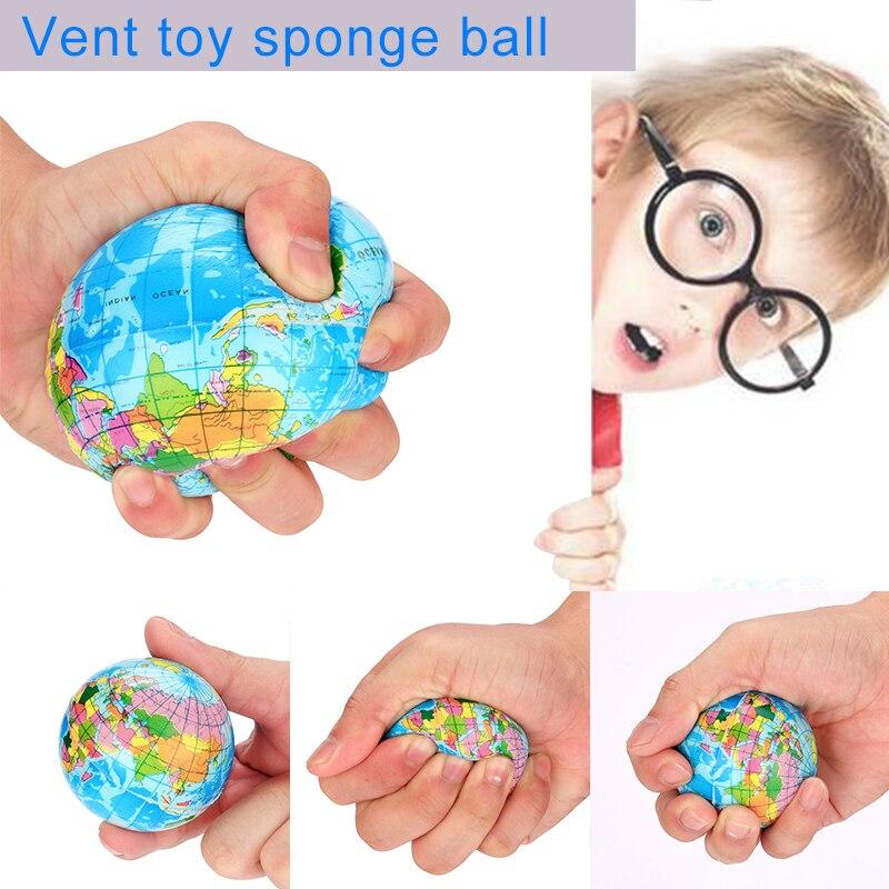 60-76mm  Stress Relief World Map Foam Ball Atlas Globe Palm Ball Planet Earth Ball Toys For Kids Girls Boys LS 0110