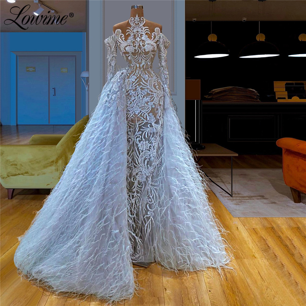 Luxury Lace Feather Long Evening Dresses Turkish High Neck Prom Dresses Two Piece 2020 Couture Saudi Arabia Celebrity Party Gown