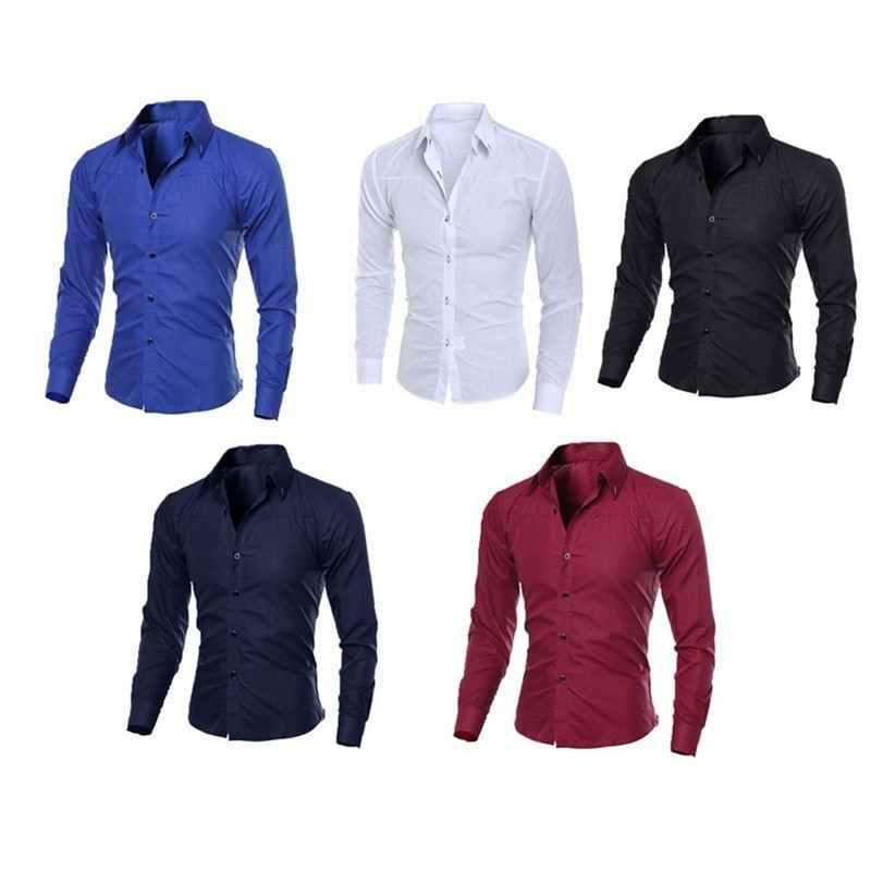 남성 캐주얼 셔츠 2020 봄 새로운 패션 솔리드 컬러 남자 슬리브 코 튼 슬림 맞는 캐주얼 비즈니스 단추 셔츠 탑스