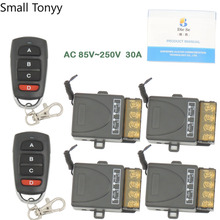 AC 75~250V 30A 6600W 1CH 4 gangs 433 Mhz Remote Control Switch High power Relay Receiver Module for Remote Light \ Electric Door цена 2017