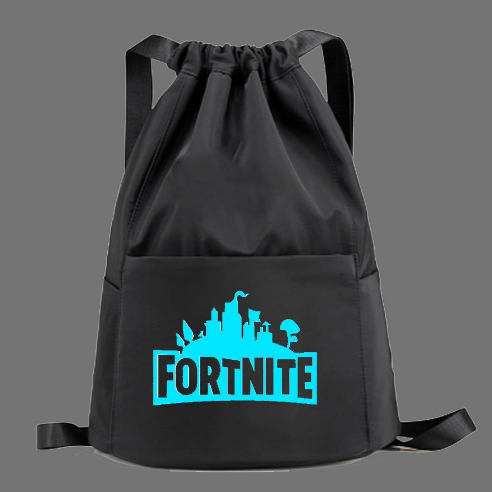 Game Fortnite Mobilefortress Night Drawstring Luminous Shoulder Backpack Simple Canvas Cinch Top Bag Lightweight Portable
