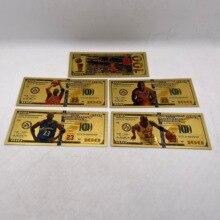Новое поступление, Банкнота Майкла Джордана, корзина, мяч, звезда, позолоченные пластиковые карты для подарков и домашней коллекции