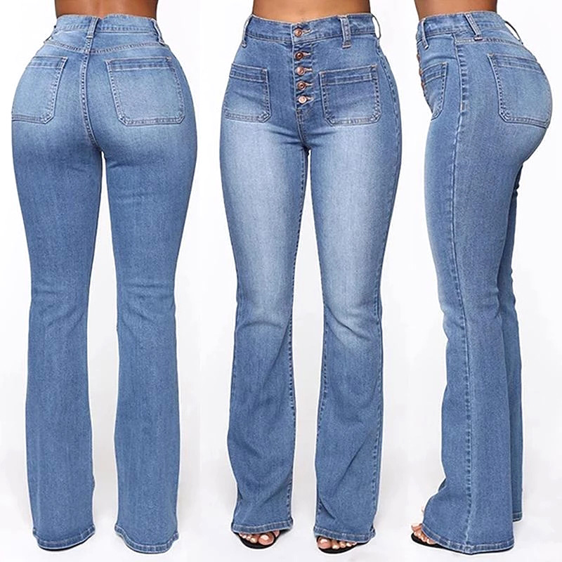 Washed High Waist Button Boot-cut Jeans Women Casual Long Pants Trousers XRQ88