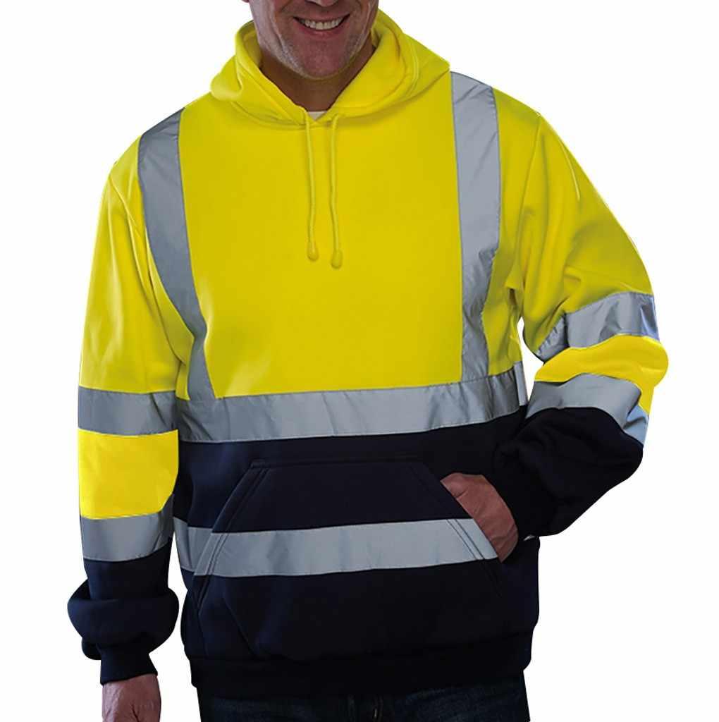パーカー男性反射スポーツウェアメンズジャケット道路工事高可視性プルオーバー長袖トップスコート服ストリート # F5