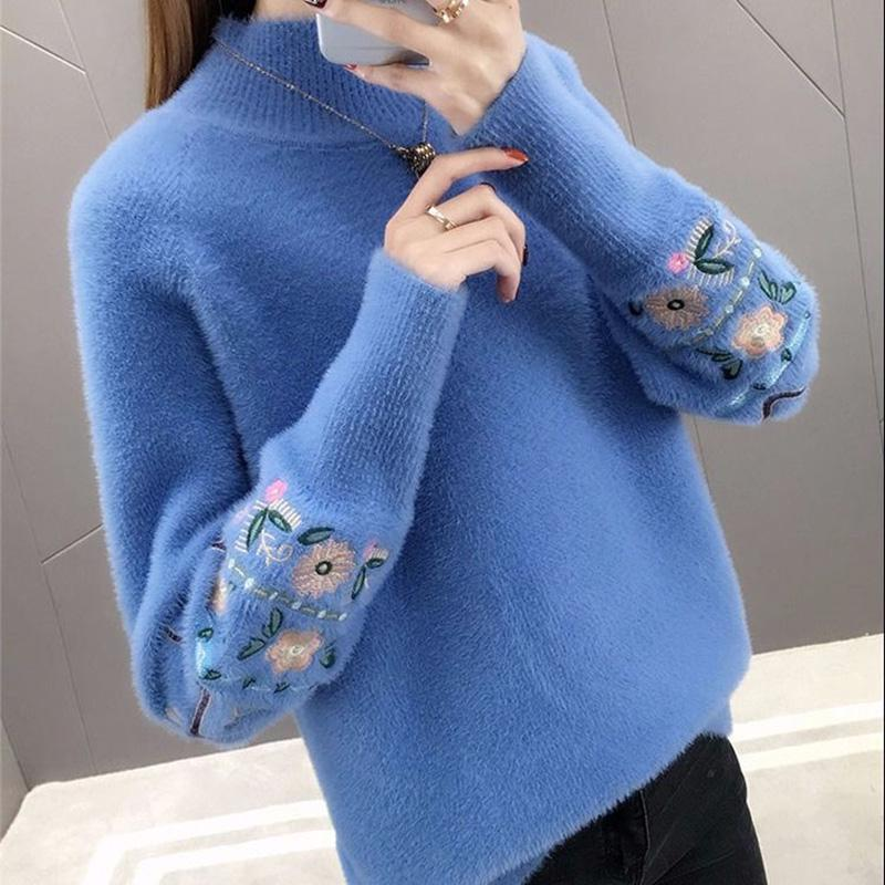 Winter Clothes Women Embroidered Plus Size Long Sleeves Sweater Water Velvet Turtleneck Sweater Cashmere Warm Pullover Sweater