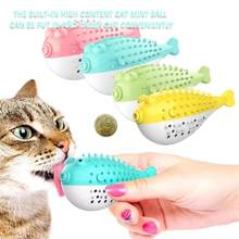 Cat Fish Shape Toothbrush Refillable Catnip Simulation Fish Teeth Cleaning Chew Cleaner Brushing Stick Pet Chew Toy Training(China)
