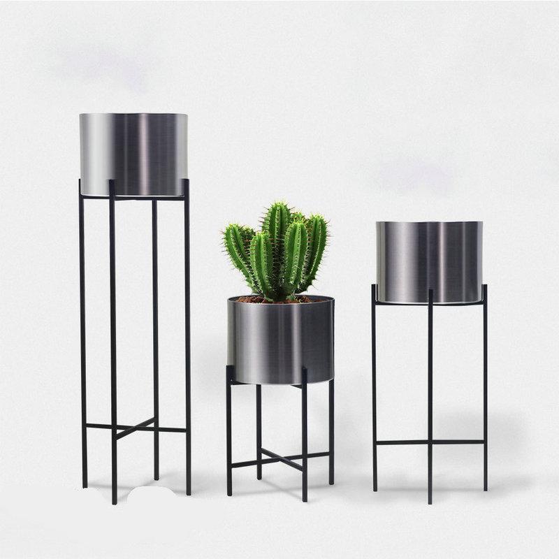1x Pot de fleur en métal en acier inoxydable fer forgé support de fleurs décoration de la maison Arrangement de fleurs en Pot support de sol