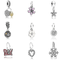 Fashion Colletion 100% 925 Sterling Silver Daisy Flower Heart Dangle charms Fit Pandora Bracelet Beads For Jewerly Making Gift