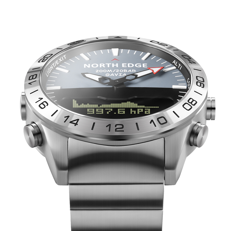 Aço inoxidável relógio de quartzo mergulho militar esporte relógios dos homens mergulho analógico relógio digital masculino do exército altímetro bússola borda norte - 3