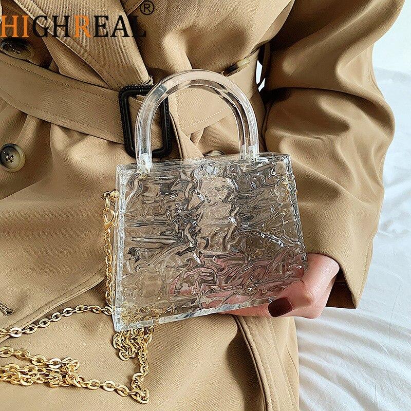 Bolso de mano transparente con asa superior para mujer, bolsa pequeña para teléfono, con cadena para lápiz labial, bolso de noche, caja de cigarrillos, bolso de mano Acrílico