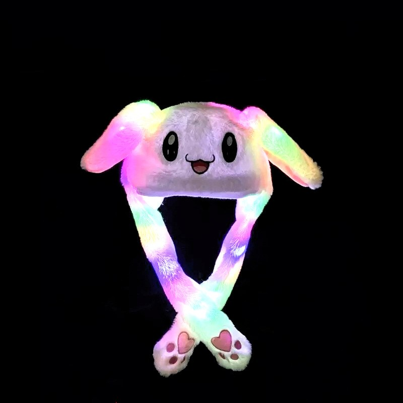 NEW Cartoon Cuddly Moving Ear Rabbit Panda Hat Dance Plush Toy Plush Cap Hat Soft Stuffed Animal Toys Gift LED Light