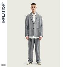 INFLATIE Luxe Mannen Blazer Losse Fit Fashion Brand Hoge Kwaliteit Streetwear Mannen Casual Pak Grey Kleur TernoMasculino Streetwear