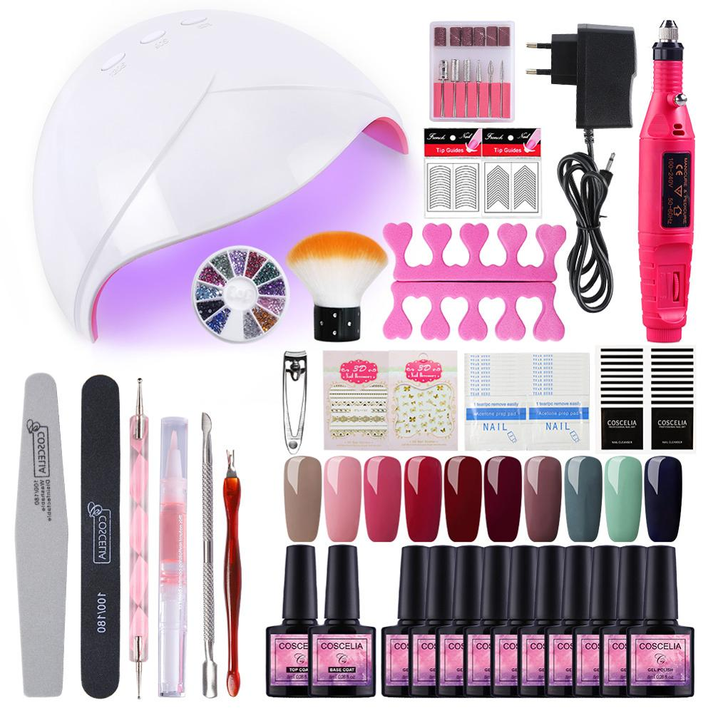 10 Colors Gel Nail Polish Set Manicure Set 36W UV Led Lamp Dryer Nail Art Tools Set Gel Varnish All For Manicure Tools Kit