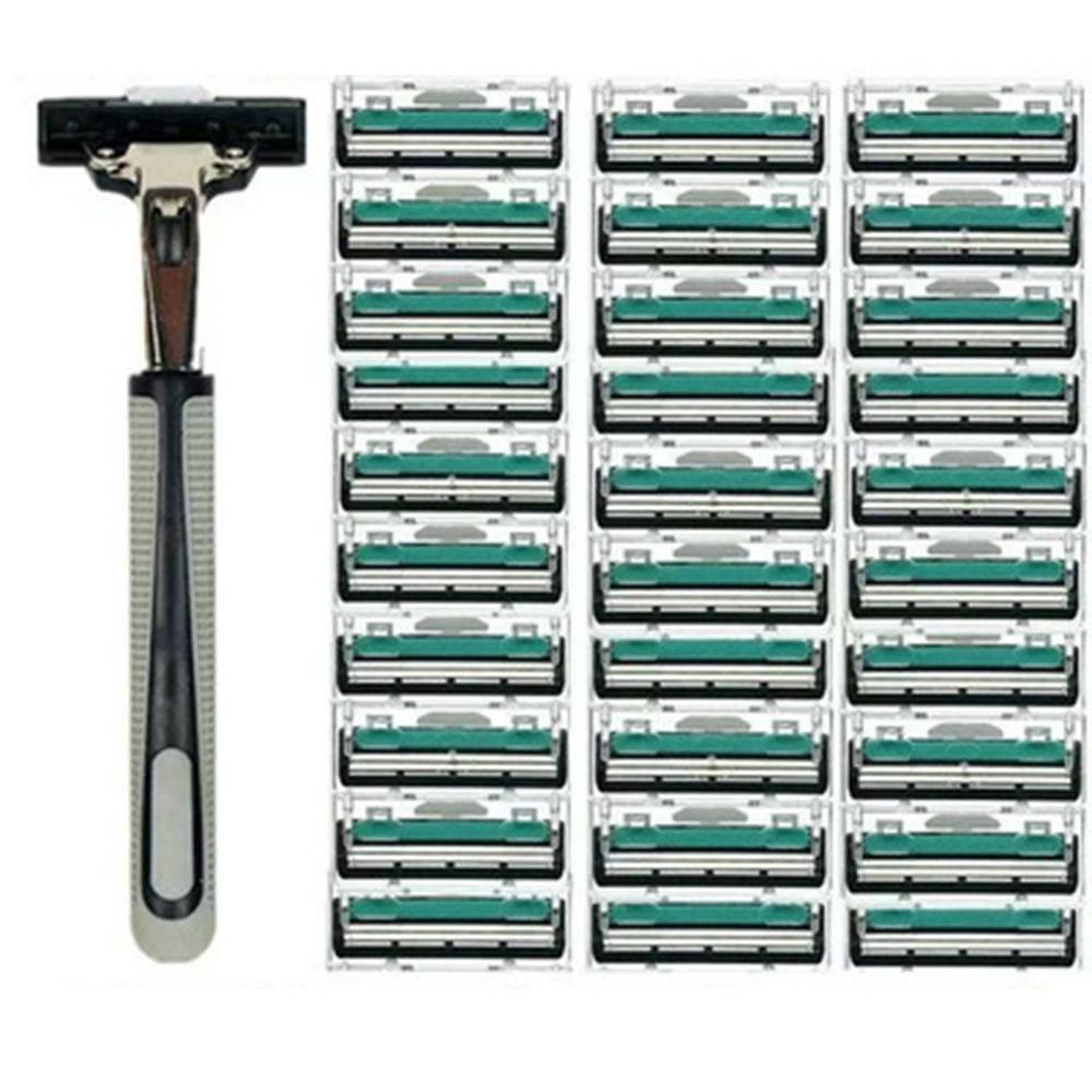30PCS 2 Layers Shaving Machine Safety Razor Blades Manual Shaving Shaver Face Care Beard Hair Remover