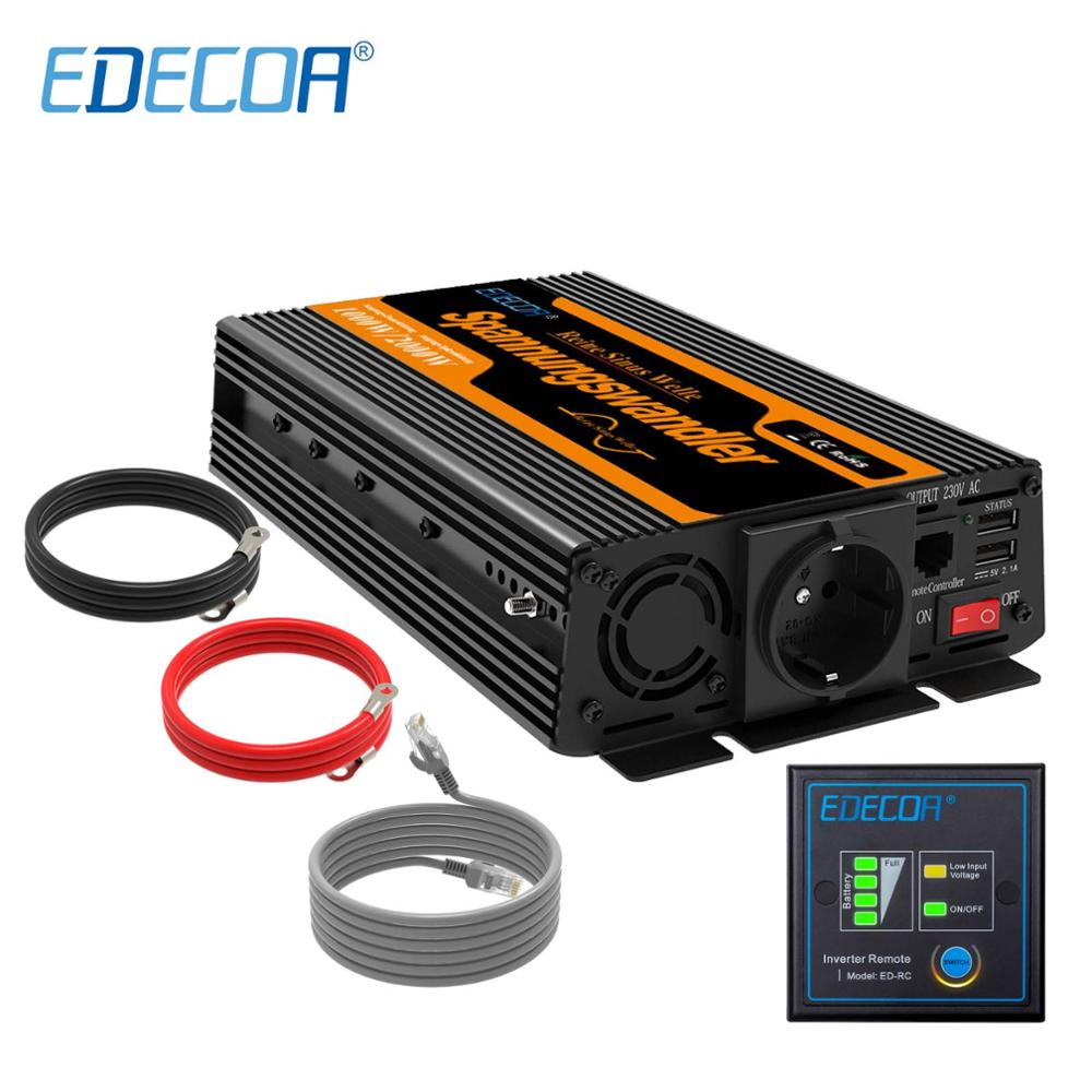 EDECOA 1000W <font><b>2000W</b></font> power <font><b>inverter</b></font> DC <font><b>12V</b></font> AC 220V 230V 240V <font><b>pure</b></font> <font><b>sine</b></font> <font><b>wave</b></font> with 5V 2.1A USB and remote controller image
