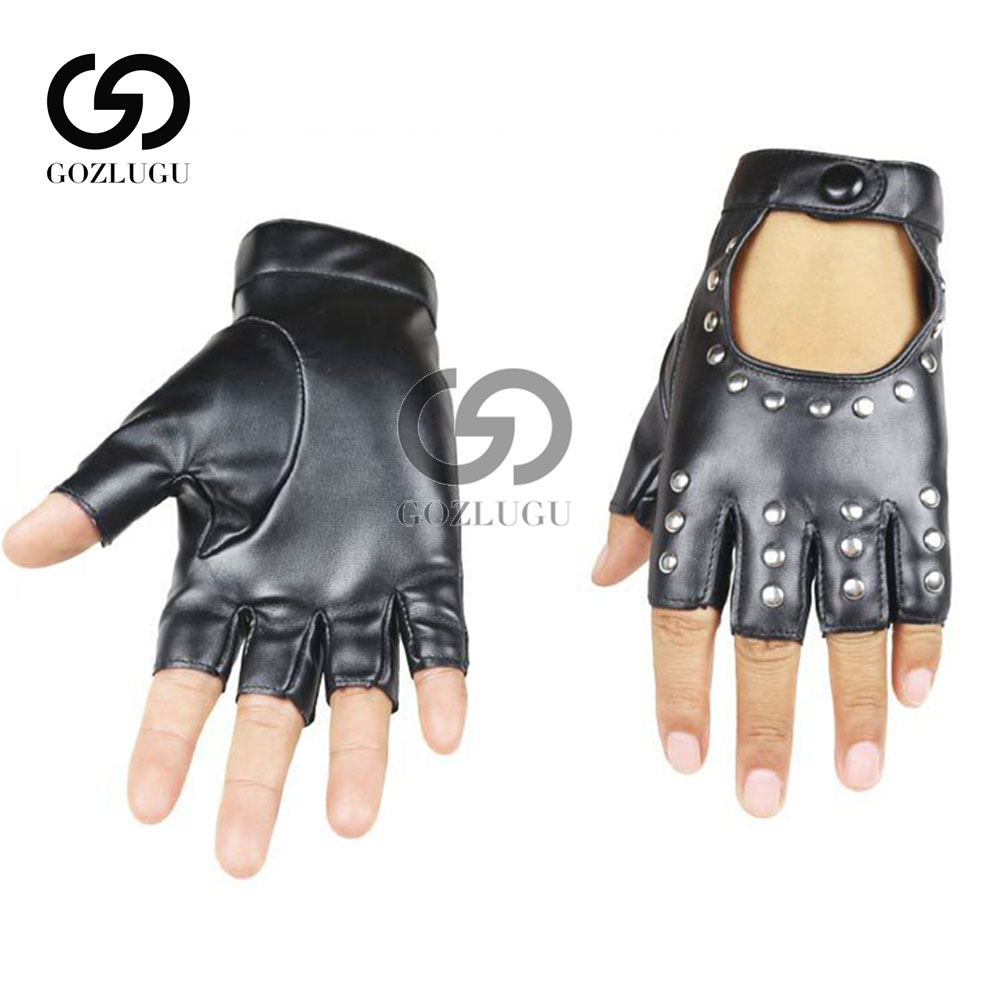 Fashion Half Finger Gloves Men Faux Leather Mittens Fingerless Tactical Women Driving.