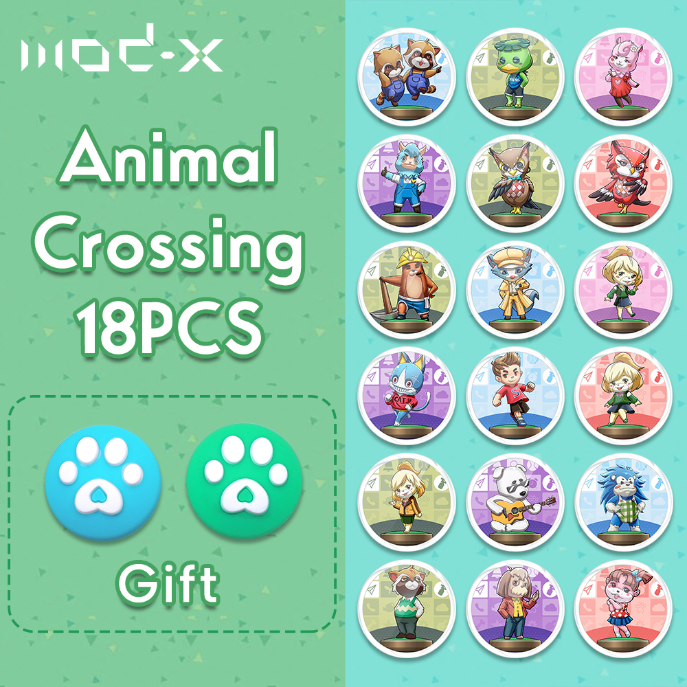 ModX 18Pcs For Animal Crossing Amiibo NFC Card Nintend Switch NS Wii U 3DS Lite Animal Crossing New Horizons NTAG215 Amiibo Card