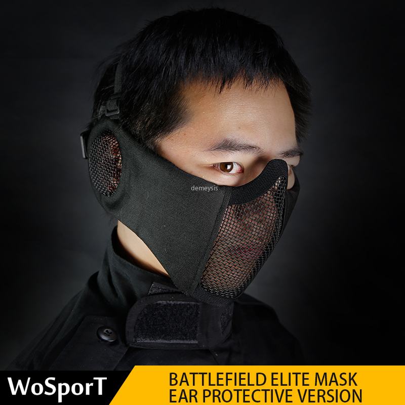 Army Airsoft Tactical Mask Half Face Hunting Shooting Mask Ear Protection Military Airsoft Paintball Mask Accessories