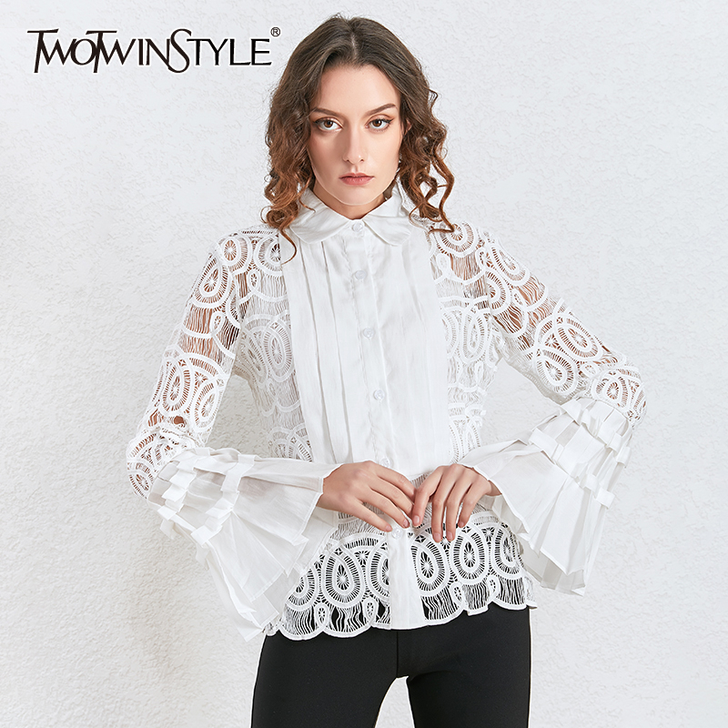 TWOTWINSTYLE Vintage Patchwork Lace Blouse Women Lapel Collar Flare Long Sleeve Hollow Out Shirt Female Fashion 2020 Clothes New