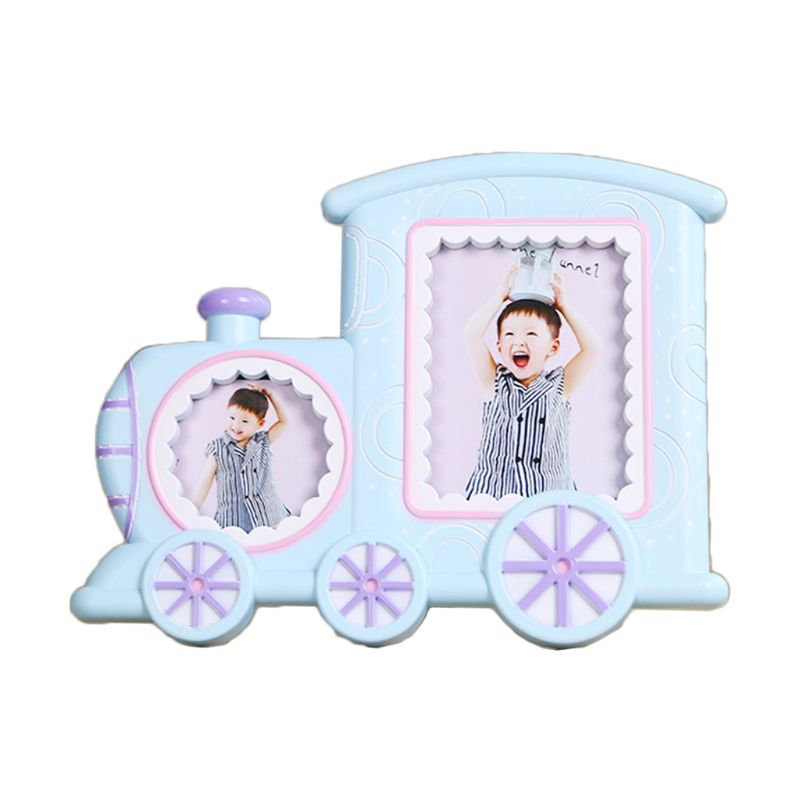 Baby Cartoon Train Shape Photo Frame Infant Year Old Growth Picture Holder Decor K1KC