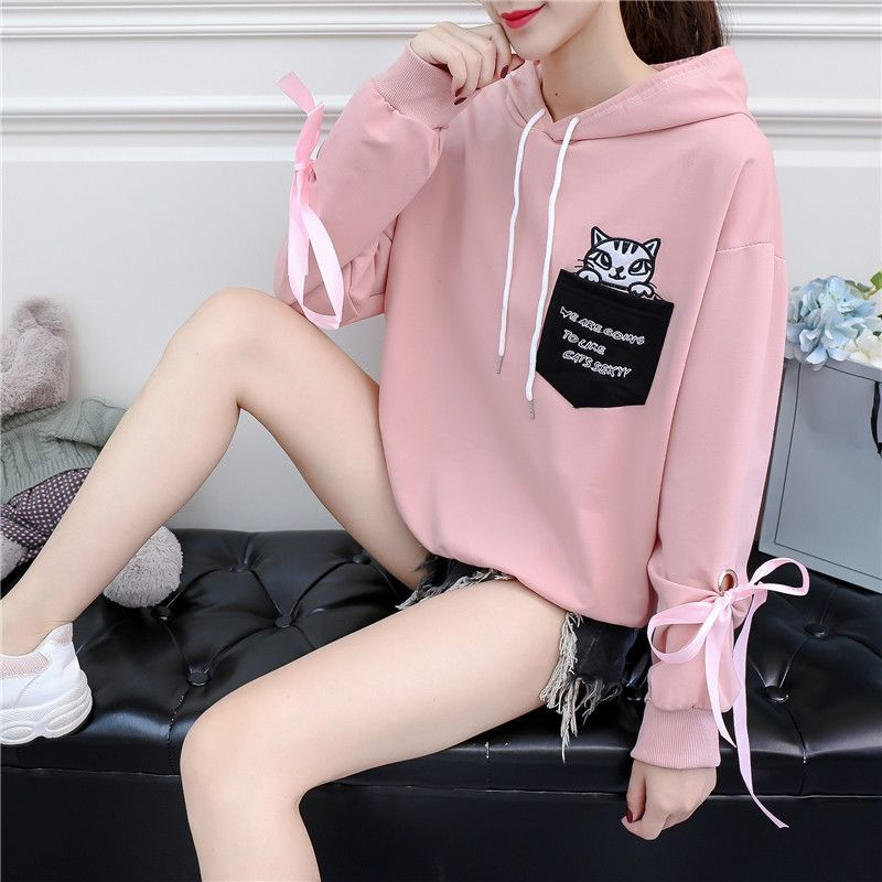 Autumn and Winter New Korean Version of Women's Hooded High Collar Fake Two Fashionable Tops with Plush Thickening for Students 16