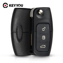 KEYYOU 433 MHz 3 boutons rabattable télécommande de voiture pour FORD Mondeo Focus Fiesta C Max S Max Galaxy
