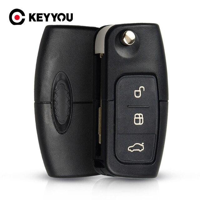 Складной автомобильный пульт дистанционного управления KEYYOU 433 МГц с 3 кнопками для FORD Mondeo Focus Fiesta C Max S Max Galaxy