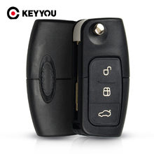 Keyyou 433 mhz 3 botões flip dobrável controle remoto do carro para ford mondeo foco fiesta c max s max galaxy